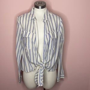 NWT By Together Striped Tie Crop Open Shirt